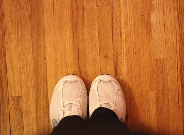 tennis shoes wood floor | shorts and longs | julie rybarczyk